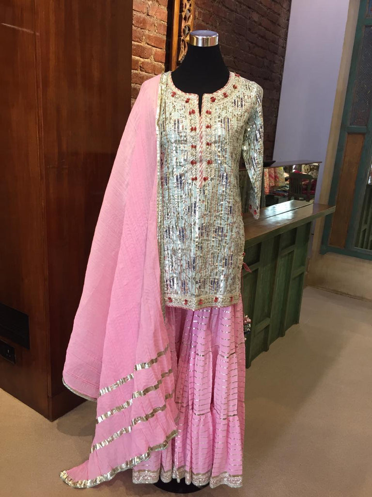 Reenu set - Blue/Pink-Sharara Set-Gopi Vaid Designs