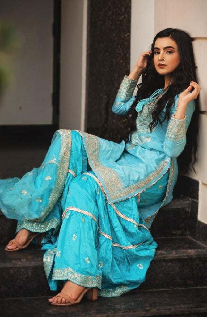 Ankitta Sharma in Rati Short Set - Turquoise-Sharara Set-Gopi Vaid Designs