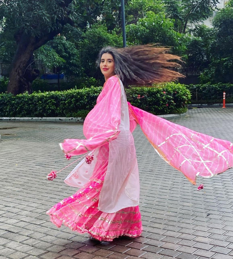 Charu Asopa Sen in Mela Basic Set - Pink-Sharara Set-Gopi Vaid Designs