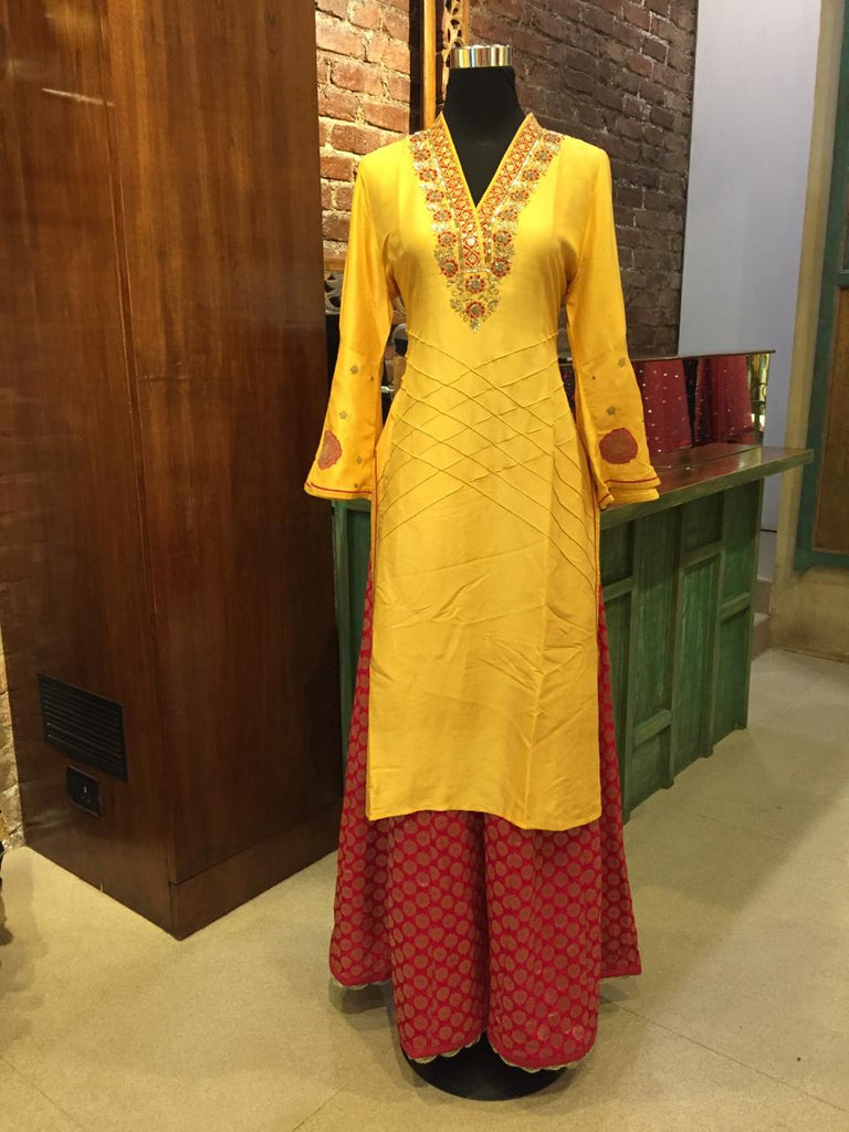 Bhuj Set - Yellow-Tunic Set-Gopi Vaid Designs