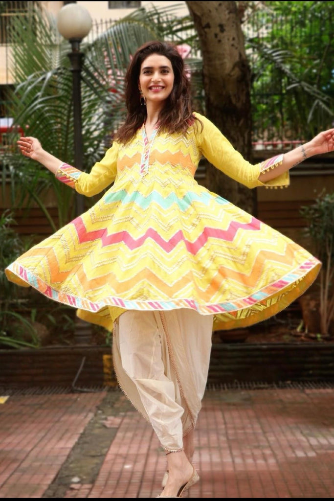 Karishma Tanna in Rangeela Dhoti Set without Dupatta - Yellow-Dhoti Set-Gopi Vaid Designs