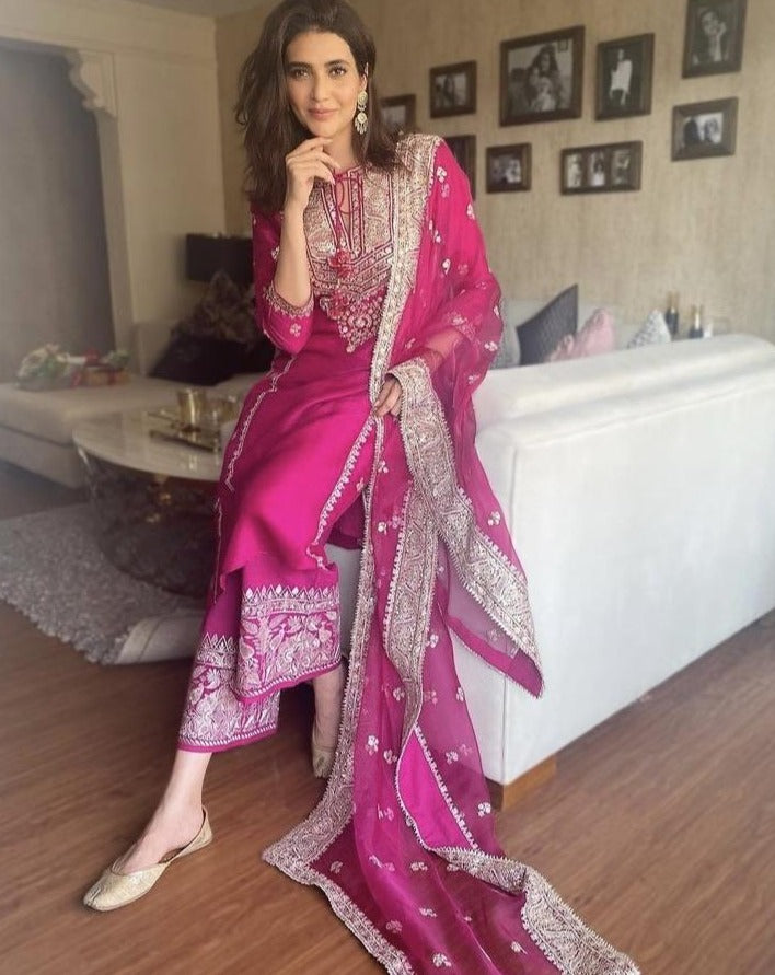 Karishma Tanna in Rati Long Set- Pink-Palazzo Set-Gopi Vaid Designs