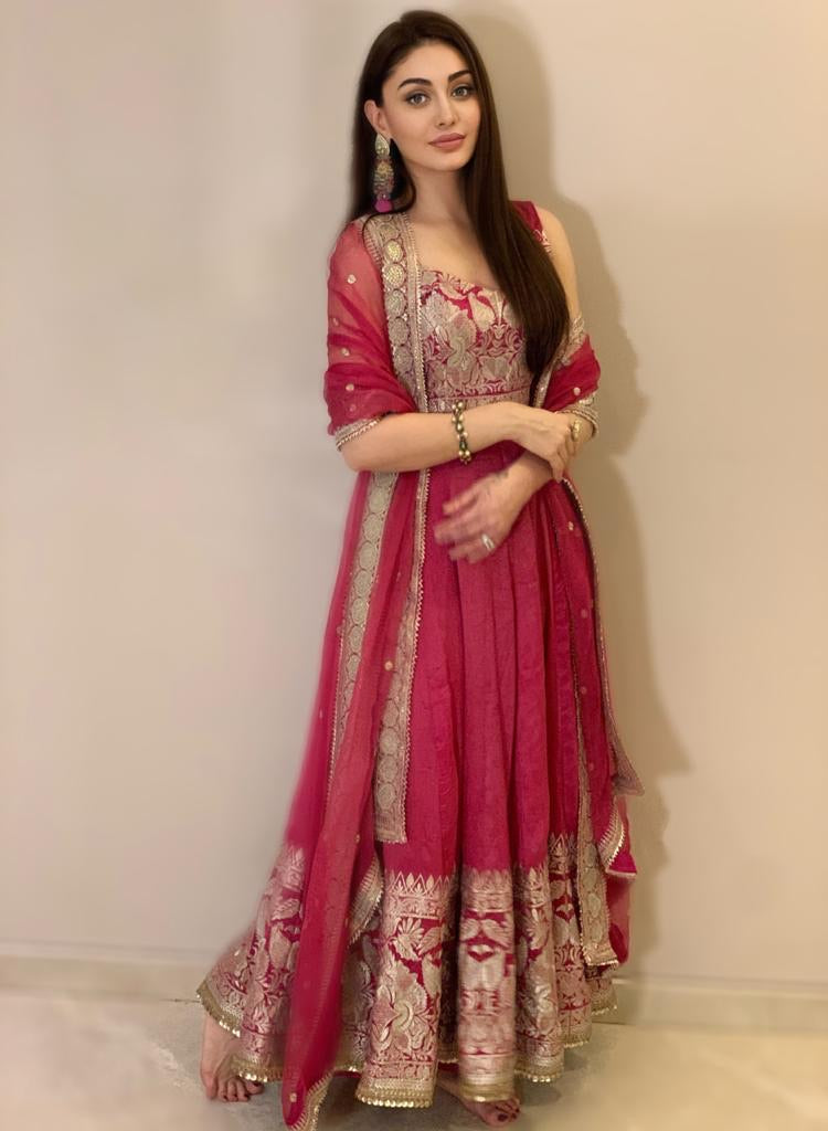 Shefali Jariwala in Golconda AG Set- Pink-Anarkali-Gopi Vaid Designs
