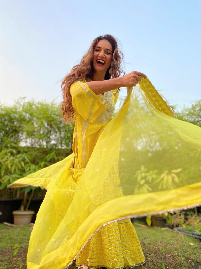 Mukti Mohan in Rati Long Set- Yellow-Palazzo Set-Gopi Vaid Designs