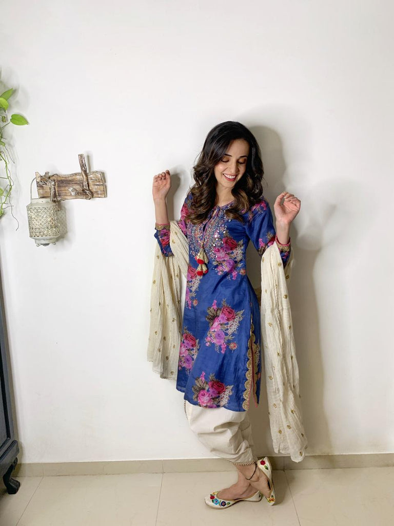 Sanaya Irani in Ahilya Short Kurta with dhoti- Blue-Dhoti Set-Gopi Vaid Designs