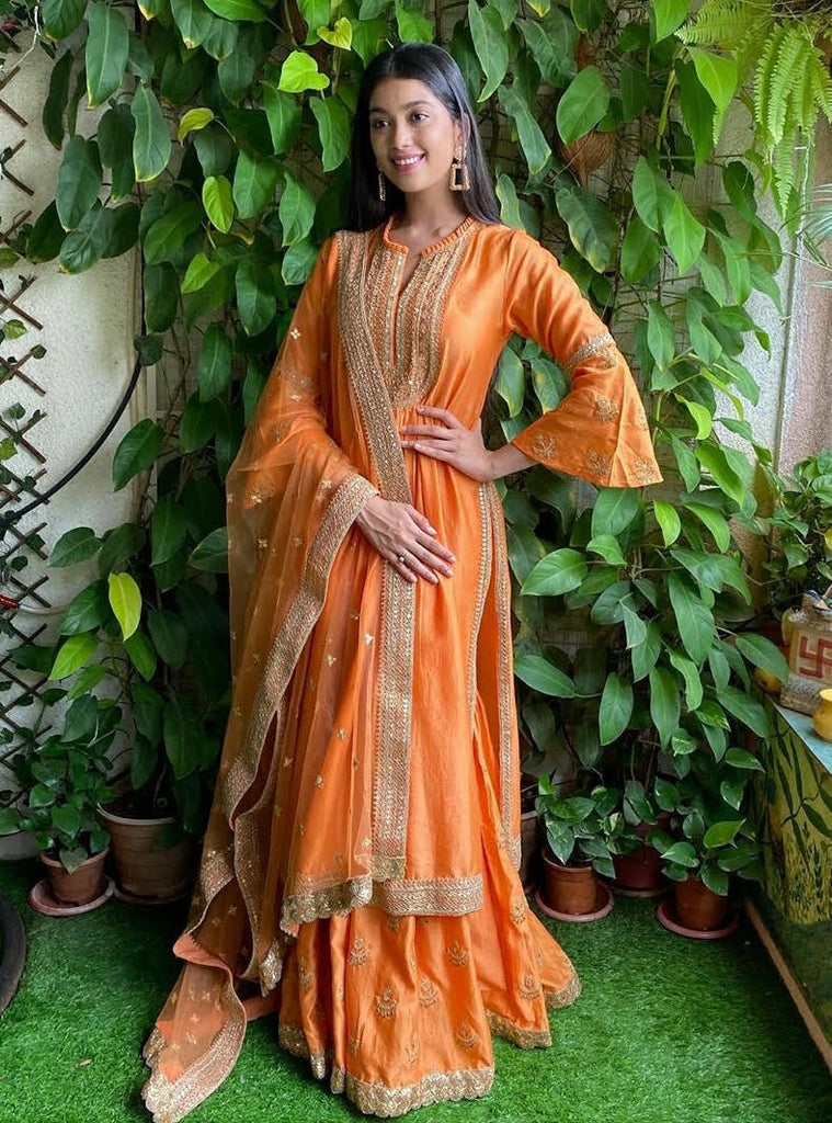 Chandbali Tunic Set With Sharara - Orange-Sharara Set-Gopi Vaid Designs