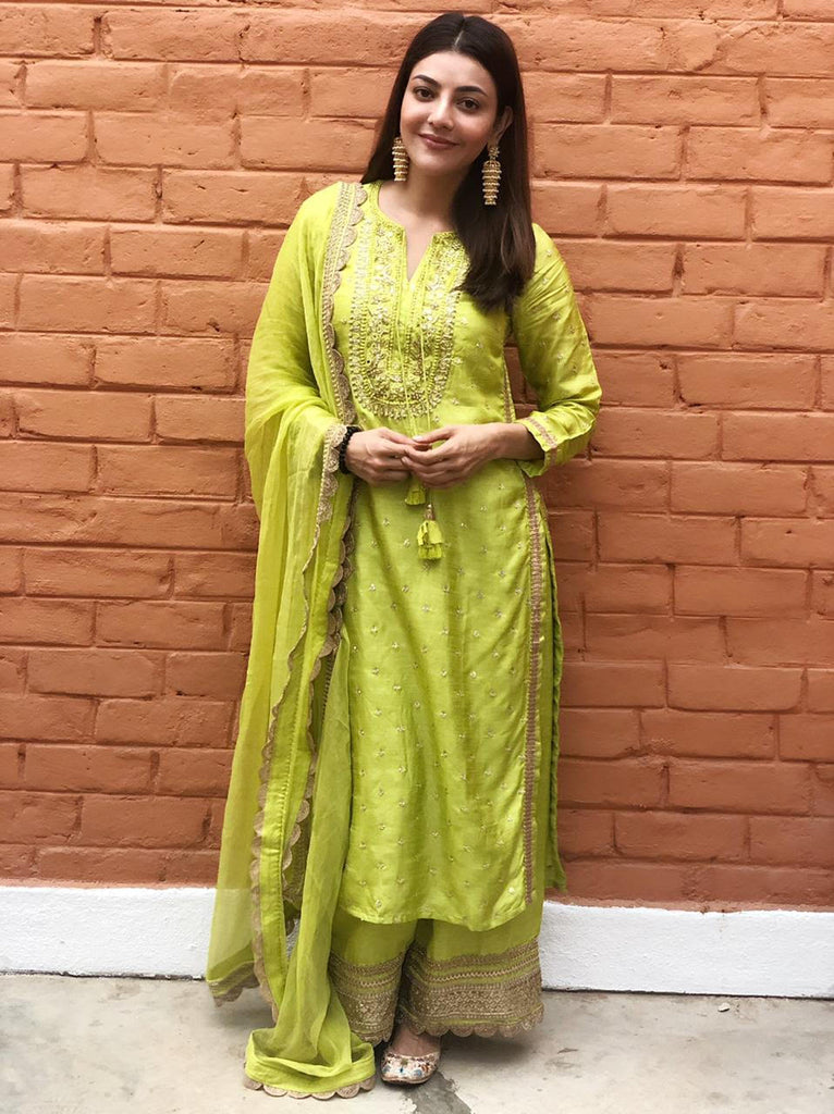 Kajal Aggarwal in Malhar Long Set - Green-Sharara Set-Gopi Vaid Designs