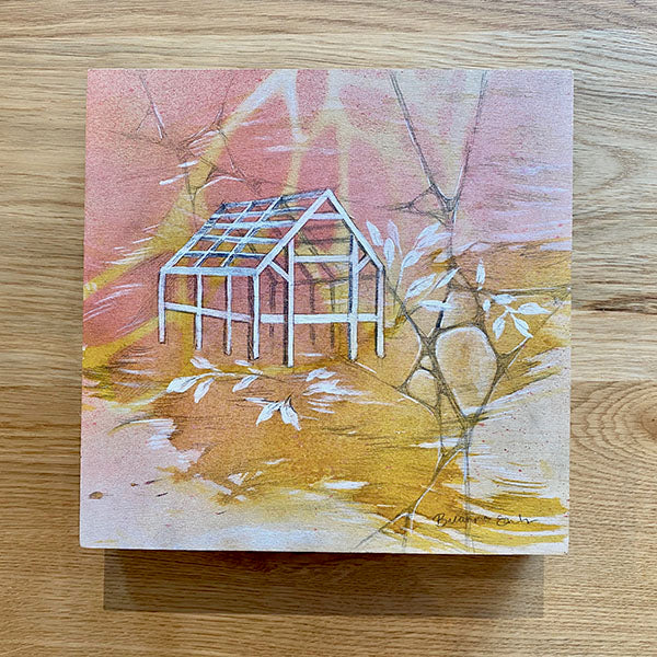 House Frame Painting on Wood Panel - Pink