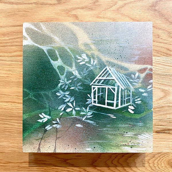 House Frame Painting on Wood Panel - Green