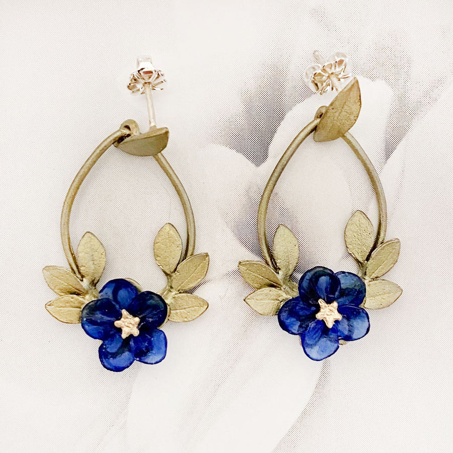 Blue Violet Post Hoop Earrings