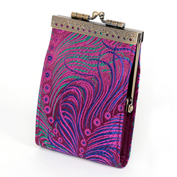 Card Holder - Purple/Fuchsia Feather