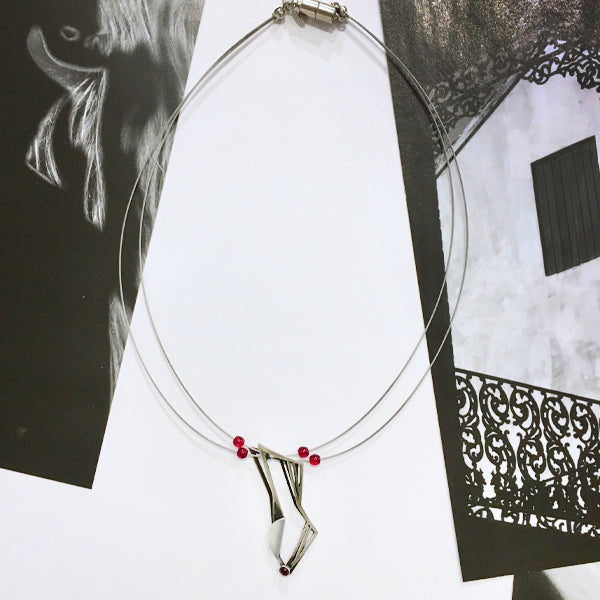 Architectural Concept Necklace - Red
