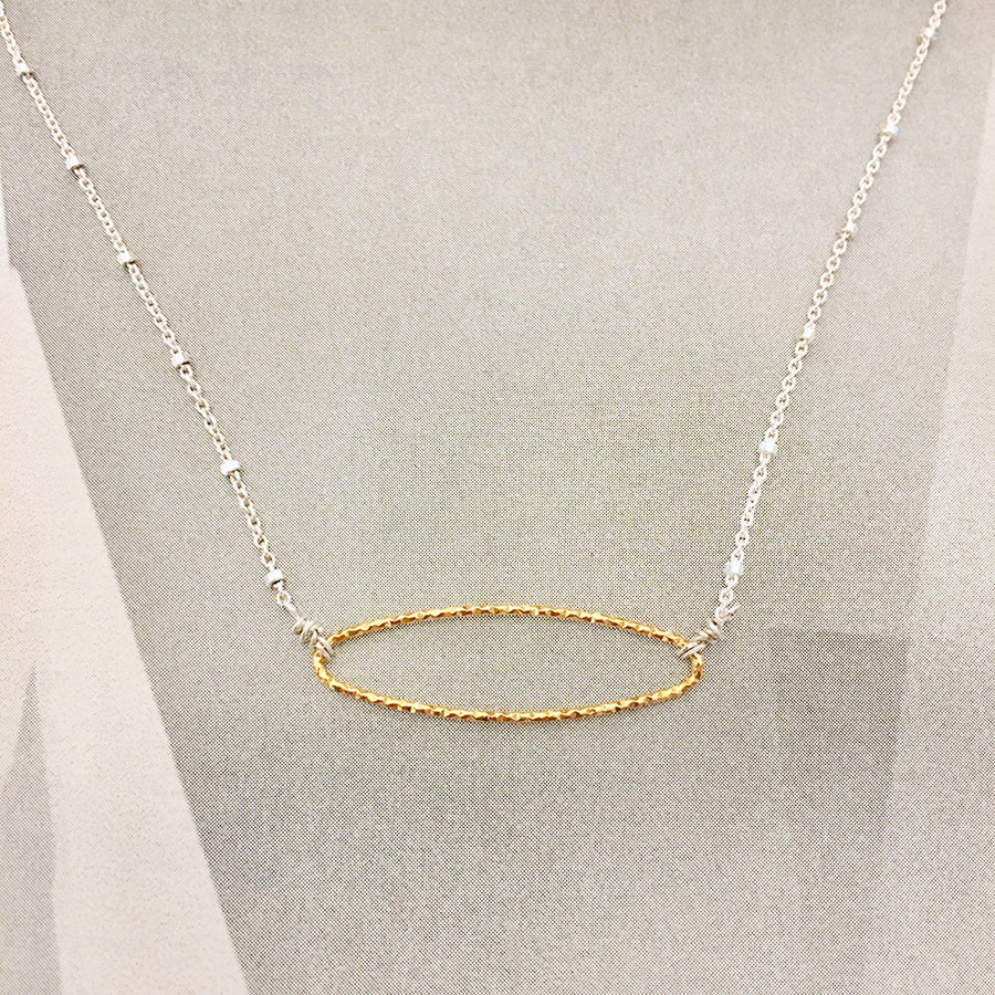 Diamond Cut Oval Necklace - Gold/Sterling Silver