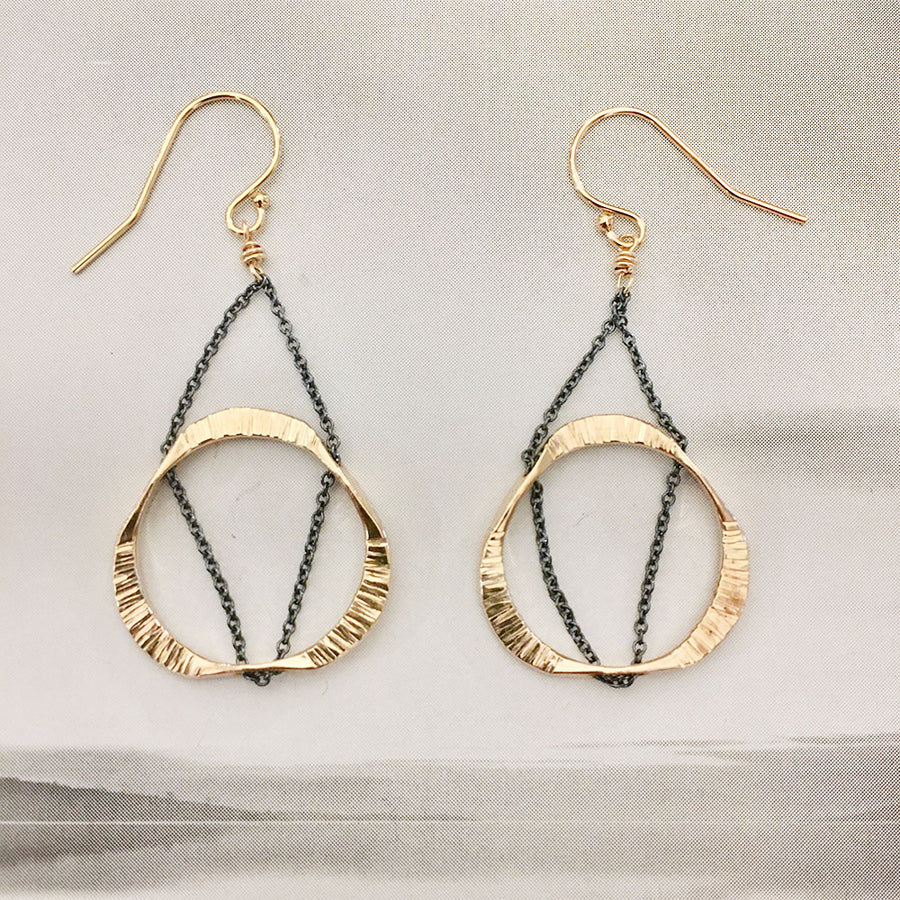 Small Floating Mobius Earrings - Gold/Oxidized Sterling Silver