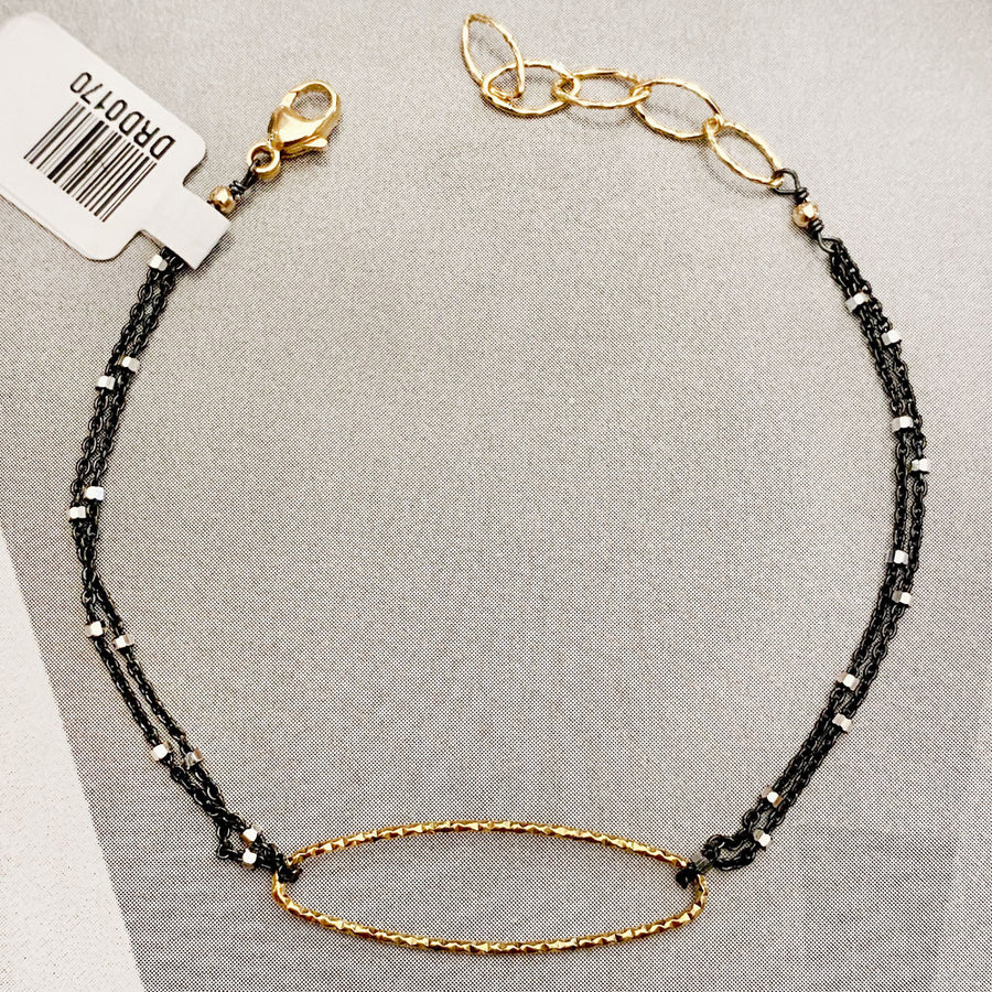 Diamond Cut Gold/Black Rhodium Oval Bracelet