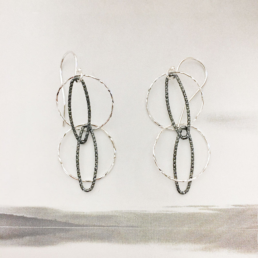 Diamond-Cut Double Cat's Eye Earrings - Sterling Silver/Oxidized Sterling Silver