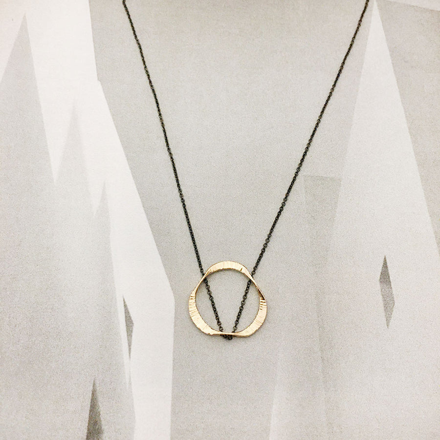 Small Floating Mobius Necklace - Gold/Oxidized Sterling Silver