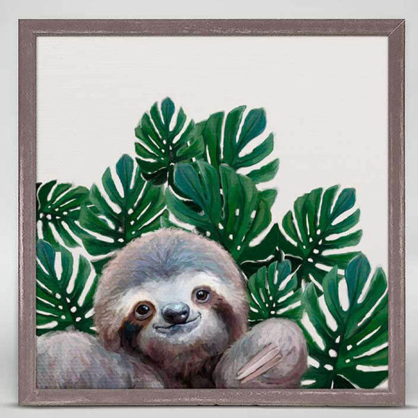 Sloth with Leaves Miniature Framed Canvas