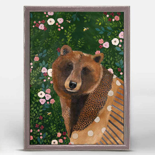 Bear with Flowers Miniature Framed Canvas