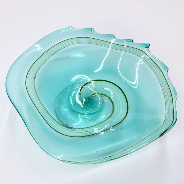 Light Blue & Green Swirl Pedestal Glass Bowl