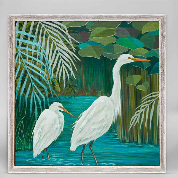 Wandering Egrets Mini Framed Canvas