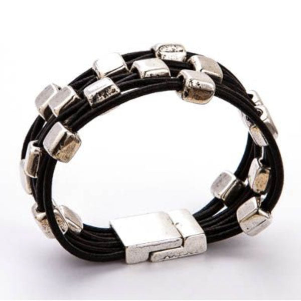 Square Cube Beaded Black Leather Bracelet