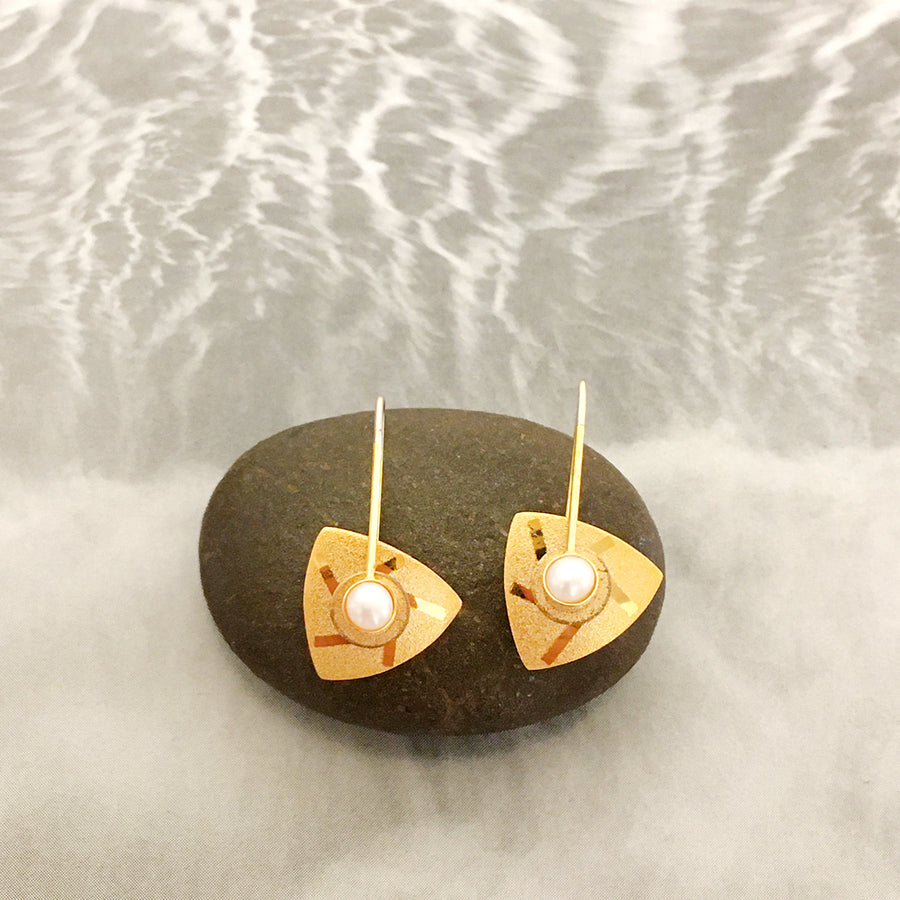Cultured Pearl Gold Triangle Kinetic Earrings
