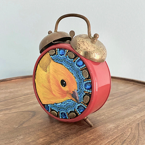 Painted Saffron Finch & Beads on Vintage Alarm Clock
