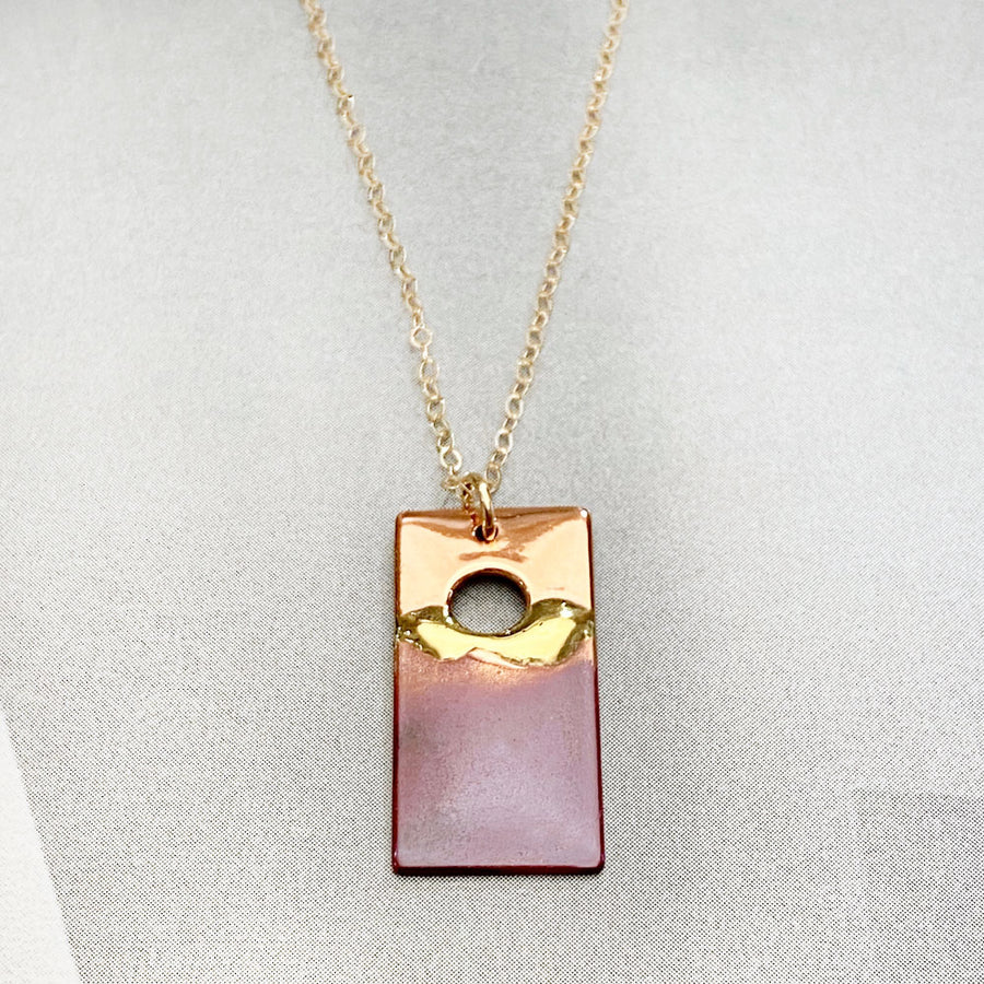 Copper Rectangle Sunset Necklace