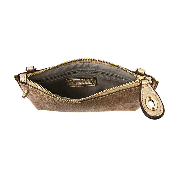 Mini Crossbody Wristlet Clutch - Metallic Bronze