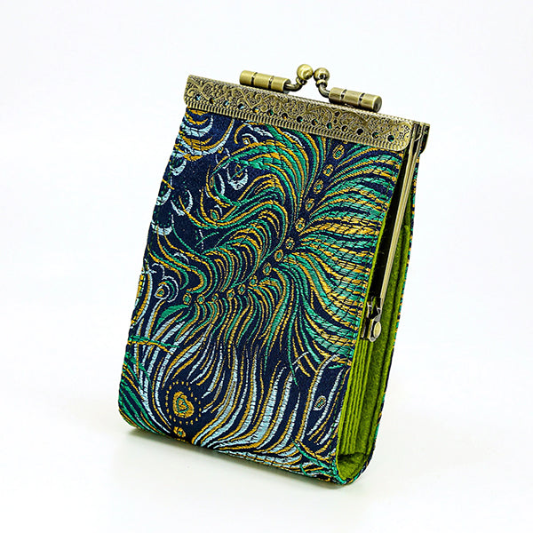 Card Holder - Green Feather