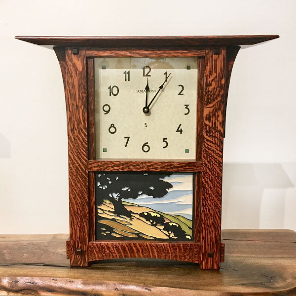 Arts & Crafts White Oak Mantel or Wall Clock