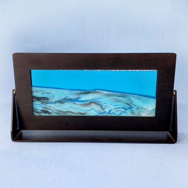 Ocean Blue Sand Art - Black Metal Frame