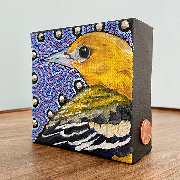 Baltimore Oriole Painting & Beads on Canvas