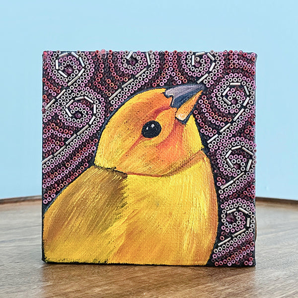 Saffron Finch Painting & Beads on Canvas
