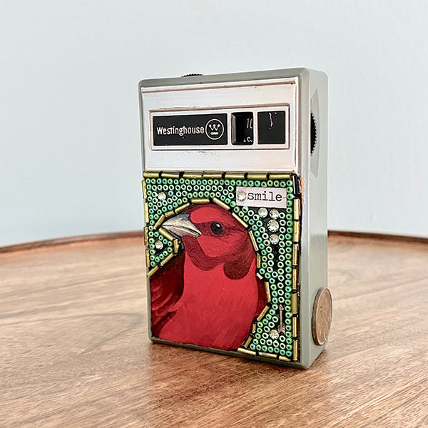 Painted Summer Tanager & Beads on Vintage Westinghouse Transistor Radio