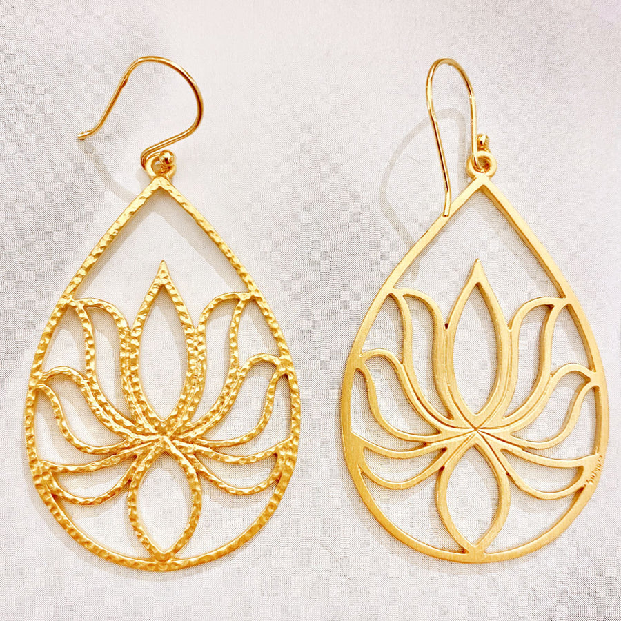 Gold Lotus Teardrop Earrings
