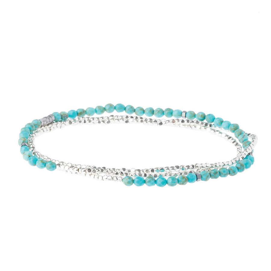 Turquoise/Silver - Delicate Stone of the Sky Wrap Bracelet