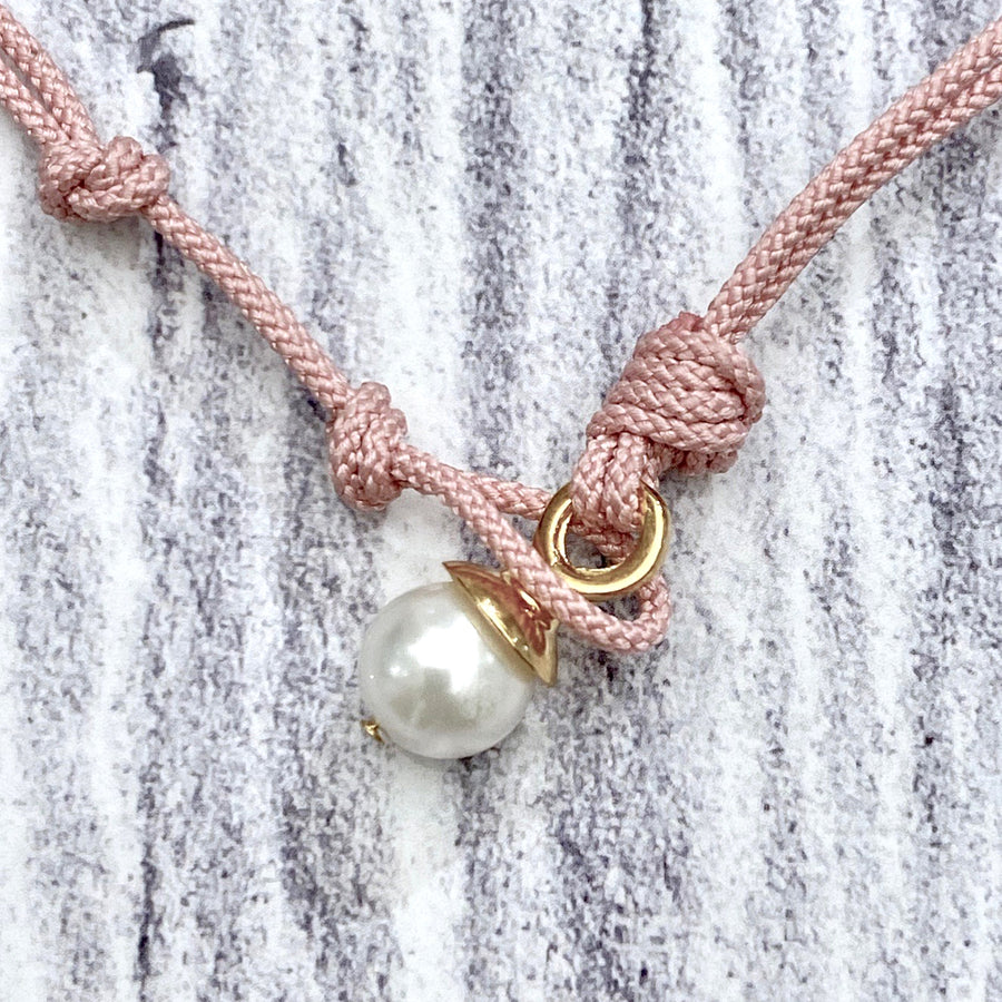 Golden Pebble Pearl Pendant - Pink