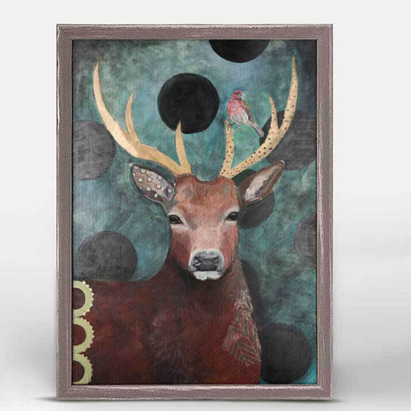 Deer and Finch Mini Framed Canvas