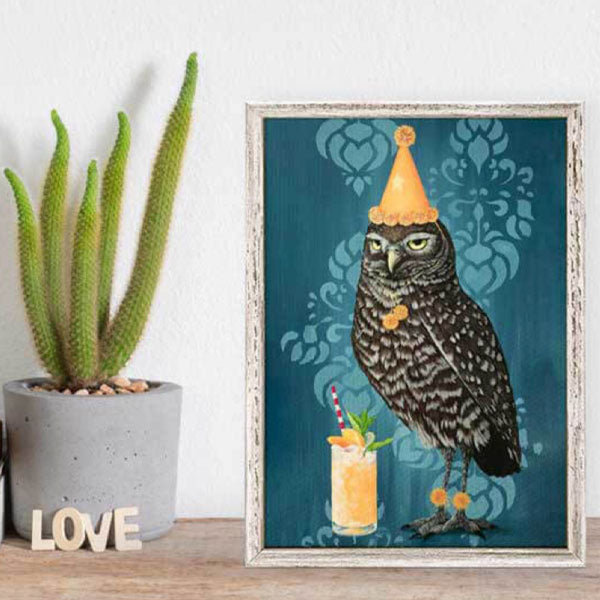 Party Owl Mini Framed Canvas