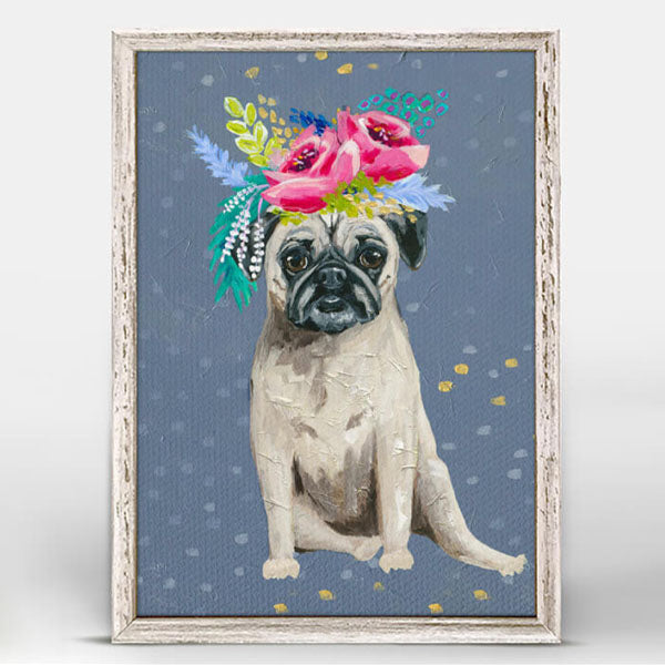 Fancy Pug Mini Framed Canvas