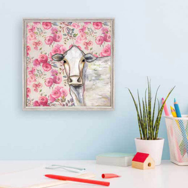 Floral Cow Mini Framed Canvas