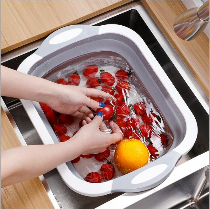 2-in-1 foldable chopping board drain basket sink