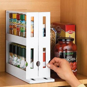 Multifunction Rotating Jars Spice Rack Kitchen Storage Holder Rack Organize