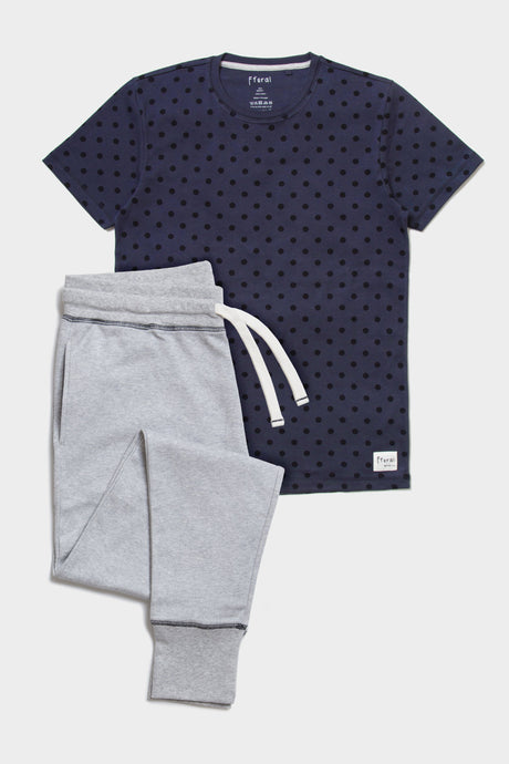 Pyjama Set - Grey Marl & Polka Dot - Sustainable Vegan Cotton (Unisex)