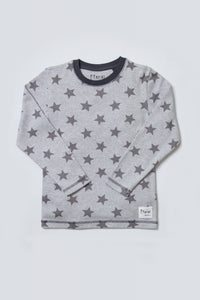kids grey marl star loungewear long sleeved top
