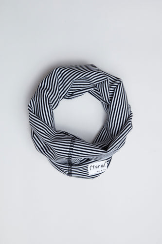 Sustainable Cotton Neck Gaiter Black and White Stripe