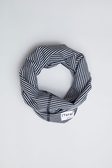 Neck Gaiter - Black and White Stripe - Sustainable Cotton