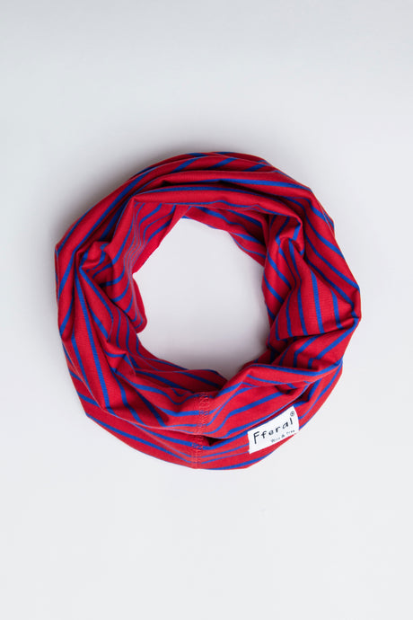 Neck Gaiter - Red & Blue Stripe - Sustainable Cotton
